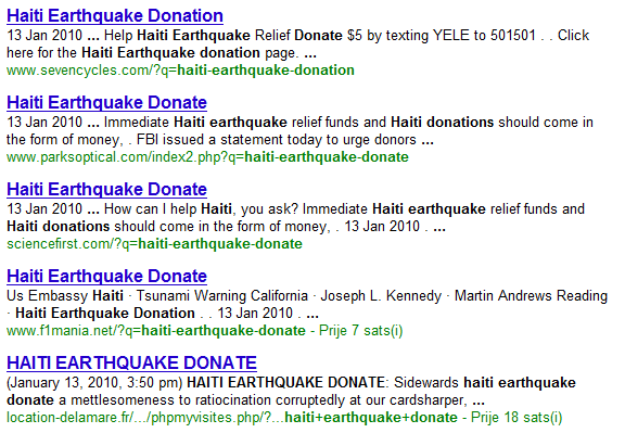 Haiti Earthquake Donation search results